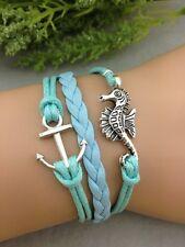 Bracelet bleu turquoise ancre de bateau et hippocampe. Top tendance 2014