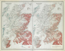SCOTLAND Languages 1881 & 1891. Gaelic & English. LARGE 1895 old antique map