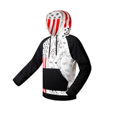 Mens Casual Roomy Pullover Hoodie Hooded Sweatshirt Coat Jacket US Flag Szie XL