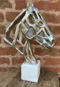 Contemporary Silver Bust of a Horse - Solid Aluminium with Marble Base - H 42cm