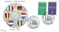 FRANCE FDC - 312a 1218 1219 1 EUROPA STRASBOURG 19 9 1959