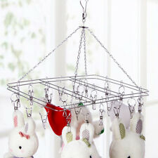 Stainless Steel Underwear Sock Bra Clothes Hanger Laundry Drying Rack 20 Clips