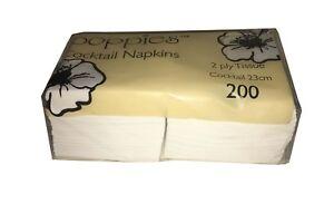 200 WHITE NAPKINS / SERVIETTES SOFT COCKTAIL 24CM BEVERAGE SHOP CAFE