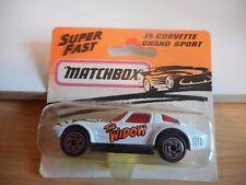 """Matchbox Corvette Grand Sport """"the Widow"""" in White on Blister"""