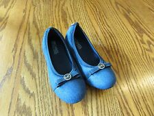 Michael Kors Girls Flat With Bow Denim Shoes Size 1 New