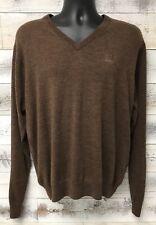Peter Millar Brown V-Neck Sweater Size M Merino Wool Markel Embroidered Logo