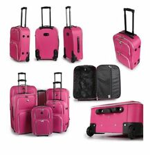 SET OF 4 SUITCASES LIGHTWEIGHT WHEEL SUITCASE TROLLEY CASE TRAVEL LUGGAGE PINK
