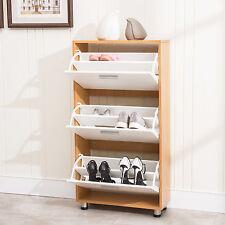 3 Drawer Shoe Storage 12 Pair Organizer Cabinet Entryway Stand Rack Shelf Wood
