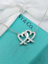 TIFFANY & CO SILVER DOUBLE INTERLOCKING LOVING HEART 18 INCH NECKLACE