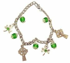 Silver Tone Irish Rosary Bracelet with Celtic Crucifix and Shamrock Charms
