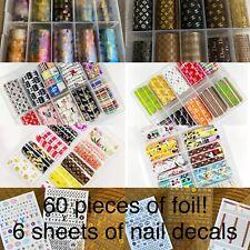 MEGA BUNDLE 6 Boxes Nail Transfer Foils 6 Sheets Nail Decals