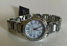 NEW! ANNE KLEIN SWAROVSKI CRYSTALS WHITE DIAL SILVER BRACELET WATCH $110 SALE