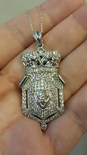 """EXQUISITELY REGAL Sterling Silver CZ CROWN CREST 18"""" Necklace, Rhodium Plated"""