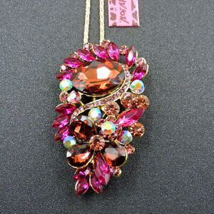 Women's Rose Pink Crystal Charm Flower Pendant Betsey Johnson Necklace/Brooch