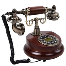 Vintage Retro Antique Style Corded Wooden Push Button Telephone Home Desk Phone