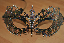 Venetian Black Metal Mask Filigree Masquerade  Diamante UK STOCK Prom/Fancy/Ball