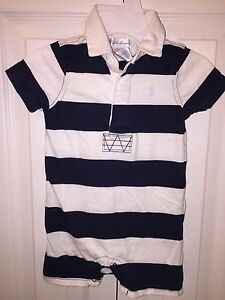 USED RALPH LAUREN 9 MO WHITE NAVY BLUE LAYETTE POLO ONE PIECE CREEPER