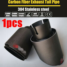 63mm Car Universal End Pipes Carbon Fiber Mattle Black Exhaust Tip Brand New