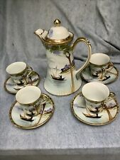 NIPPON Hand Painted White Porcelain Tea SET-Teapot W. 4 Demitasse Cups/Saucers