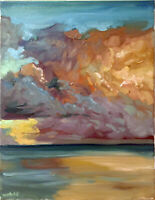 "Cloud Ocean Sunset Seascape Impressionist Original Oil Painting Signed 16""x20"""