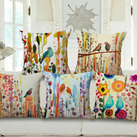 """18"""" Cotton Linen Home Car Sofa Bed Decor Waist Cushion Pillow Case Cover Bird"""