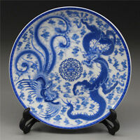 Chinese Blue and White Porcelain Plate Painted Dragon Phoenix w Qianlong Mark RT