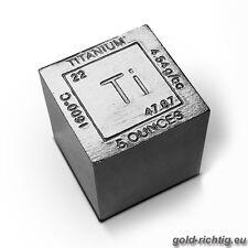 """5 OZ TITAN """"CUBE"""" Element Titanwürfel Titanbarren avdp Unze Unzen Münze Barren !"""