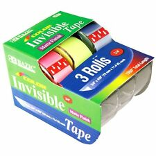 "3 roll/pk Bazic 3/4""x500"" (61cm x 1270cm) 3 assorted Color Matte Invisible Tape"