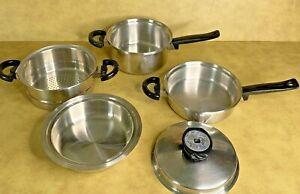 VTG Cordon Bleu Cookware T304 Stainless *Set of 5* Pan Pot Steamer Temptone Lid