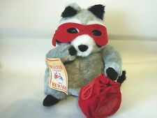 Hallmark 2004 Valentines Plush Racoon with Red Mask and Bag 10 Inches Tall