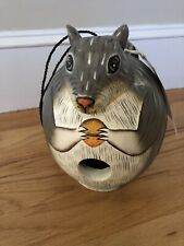 Nwt Gordo Gord-o Hand Carved & Painted Squirrel Birdhouse Albesia Wood