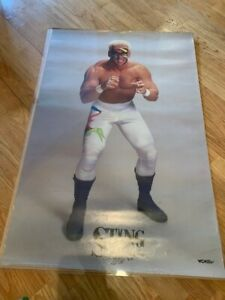 "Sting WCW Wrestling Vintage Early 1990s Poster 22.5""W x 34.5""H Used Pre-Owned"