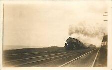 RPPC Steam Locomotive Train Railroad scene vintage Sepia Photo Poscard