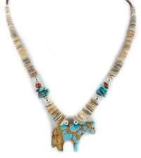 Fetish $400Tag Horse Silver Navajo Turquoise Graduated Red Native Necklace