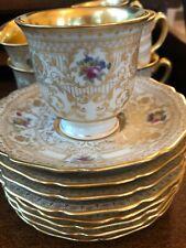 Vintage Set 8 Gold Encrusted Black Knight Bavaria Demitasse Mini Teacup Saucer