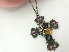 "Antique Brz, Skull Cross Pendant, Metal Flowers, Raspberry Stones on 28"" Chain"