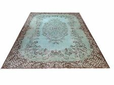 "10' x 6'5""  Vintage soft pastel mint  green  aqua turquoise overdyed rug carpet"