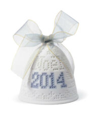 More details for sale lladro 2014 christmas bell with blue ribbon - christmas ornament