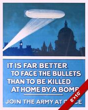 WWI ZEPPLIN BLIMPS OVER LONDON PROPAGANDA POSTER PAINTING REAL CANVAS ART PRINT
