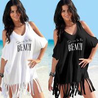 Womens Tassel Bikini Cover Up Beach Swimwear Swimsuit Loose T-Shirt Tops Dress