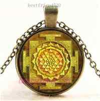 Vintage Gold Sri Yantra Photo Cabochon Glass Bronze Chain Pendant Necklace
