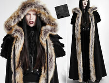 Long hooded cape coat gothic lolita baroque armor ruffles fur Winter PunkRave Bk