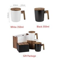 Ceramic Coffee Mug With Wooden Handle & Cover Cup Set with Box Gift Package