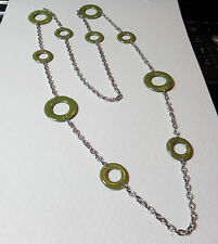 """LOVELY OLIVE GREEN ENAMEL RINGS LONG SILVER PLATED CHAIN NECKLACE 35"""" 90 cm"""