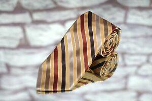 Altea Milano Men's Tie Gold Copper Platinum Stripe Woven Luxury Silk Tie