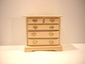 1/12th Dollshouse Miniature Bare Wood 5 Drawer Chest of Drawers