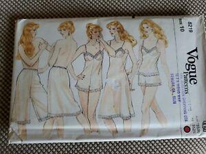 Vintage Sewing Pattern Vogue 8219 Misses Lingere Cami Teddy Slips Panty Sz 10