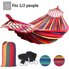 Camping Hammock Canvas Cotton Rope Double Single Patio Hiking Hanging Swing Bed