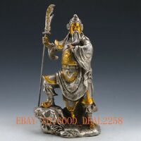 Chinese Silver Copper Gilt Handwork carved Guangong Statue w Qing Dynasty