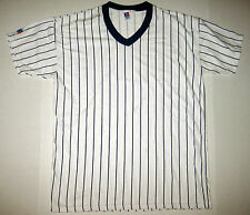 Vintage Russell Athletic Baseball Tee Plain White Blue Striped Size Large USA